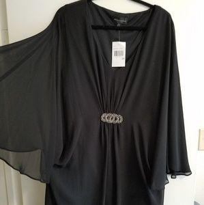 NEWConnected Apparel 20w Black Kimono Sleeve Dress